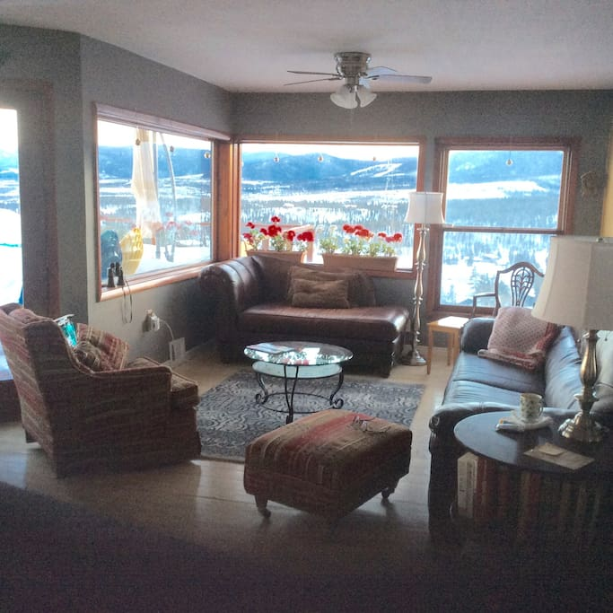 Sitting room by kitchen with stunning views of Continental Divide and valley.