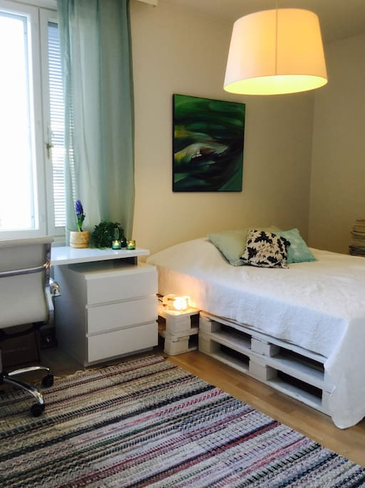 Your bedroom with 2 x 80cm wide new beds and a working desk.