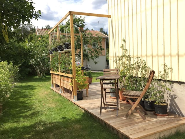 Catch the morning sun on this part of the wooden deck