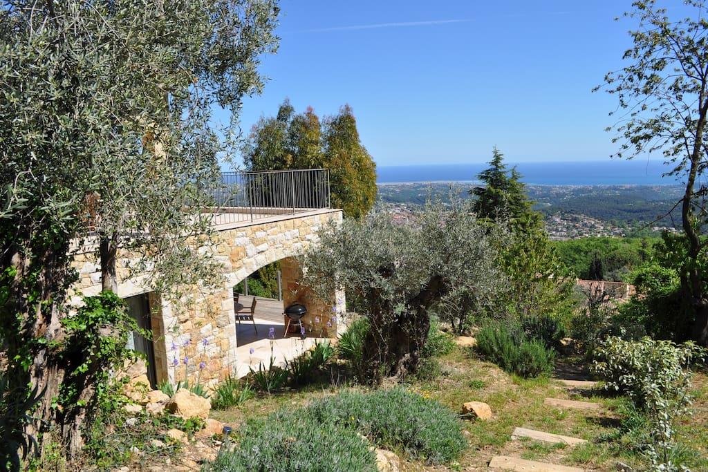 Mas des oliviers niveau bas appartements louer vence for Piscine b24
