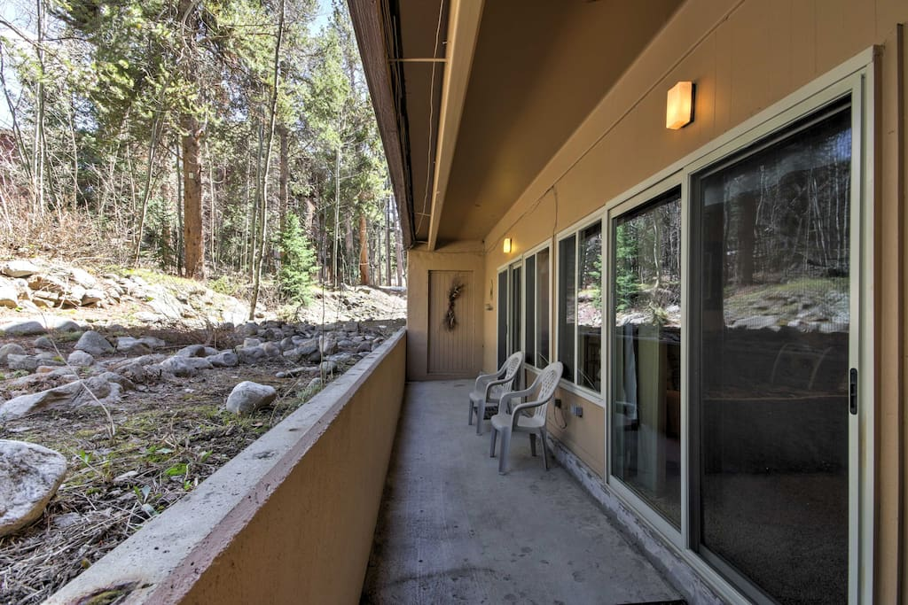 The unit features a private covered patio, where you can sip your morning coffee while taking in the fresh mountain air.