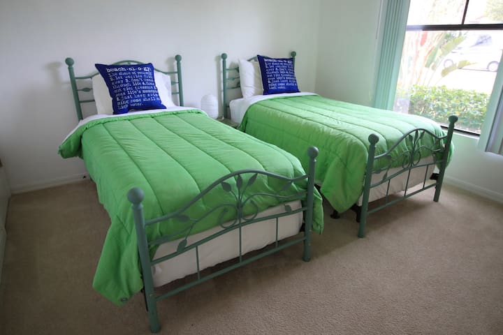 And two more twin beds in bedroom 4.