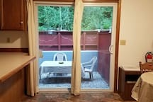 Sliding glass door to backyard