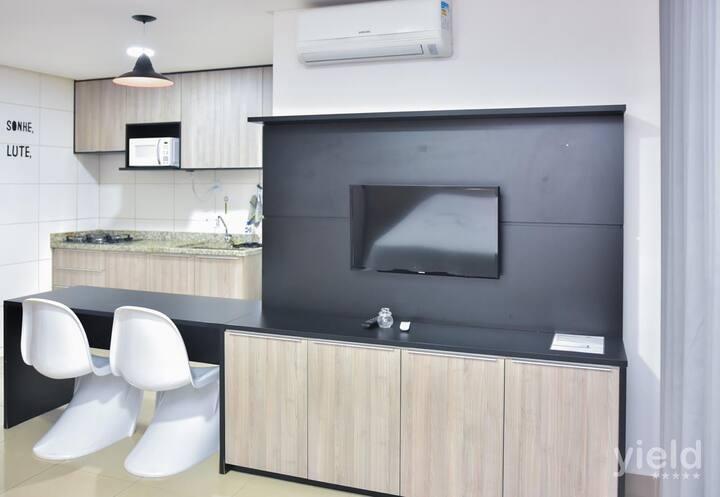 #1403#Loft mobiliado com Wi-Fi e garagem no Bueno