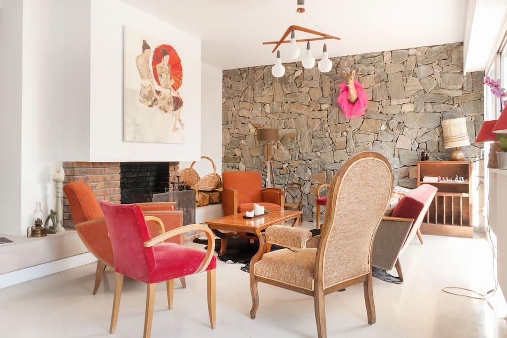un grand salon salle à manger ... plein Sud !  et avec une cheminée pour l'hiver !