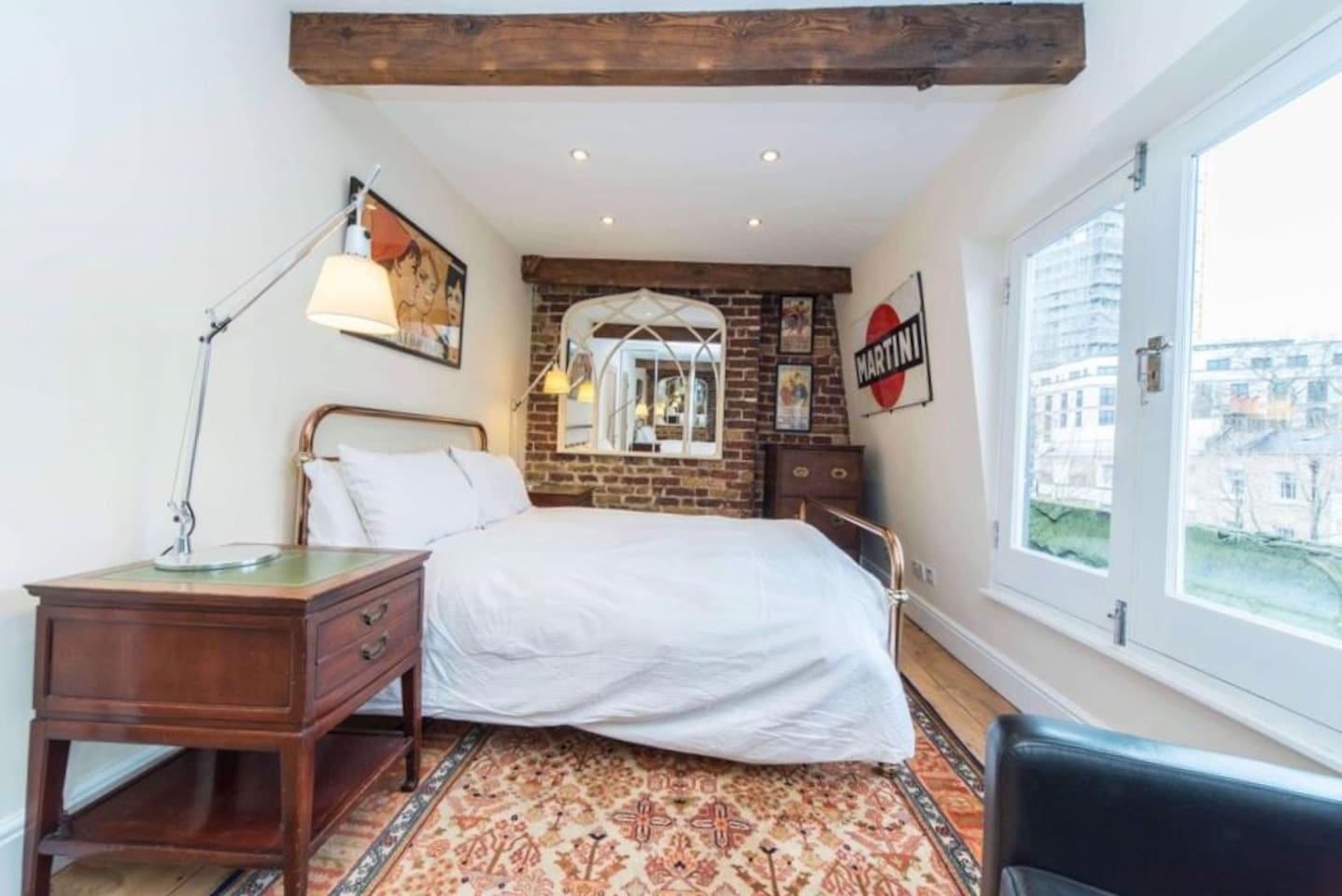 Your double bedroom. Mirror wardrobe space on opposite side + view of the shard