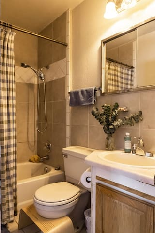 The small bathroom has a 6 function shower head with great pressure and a high-quality water filter! A bathtub with soap and shampoos, towels and don't forget the wooden squatty potty!