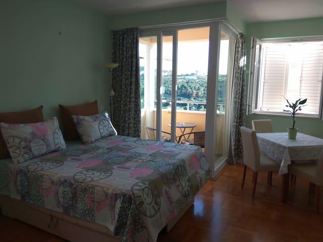 Seaview studio, parking, sunny balcony