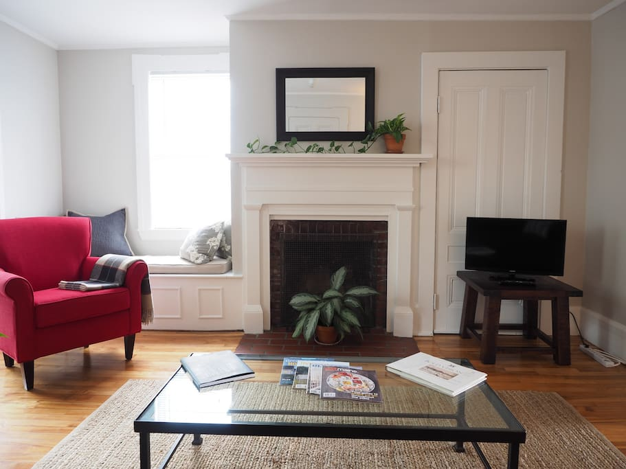 """Living Room from couch.  28"""" Smart TV (Netflix only)"""