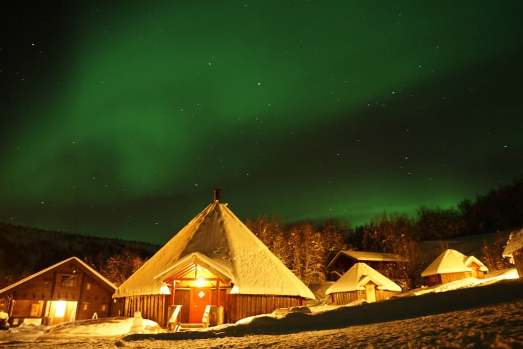 The Northern Light above our Arctic Cabins. Captured by one of our visitors from this february.