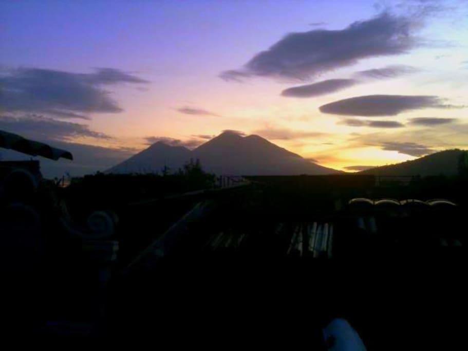 view from the terrace / vista de volcanes terraza