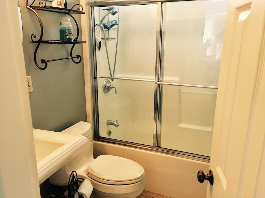 Private Bathroom includes tub, shower, sink and toilet.