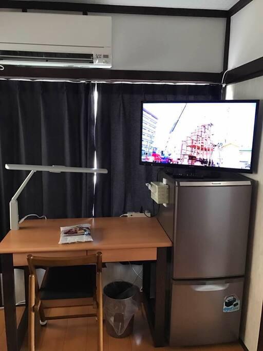 TV2 & Big Desk with super big LED light