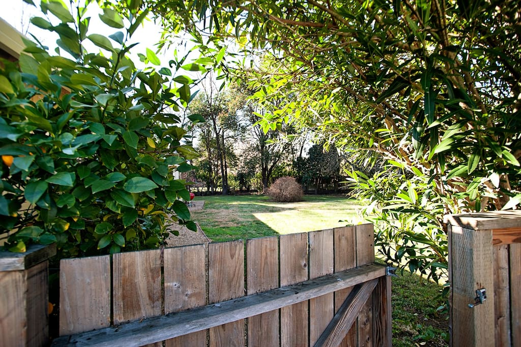 Gate into back yard, fully enclosed for kids, pets