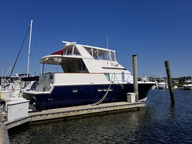 48' yacht in quiet marina downtown Charleston