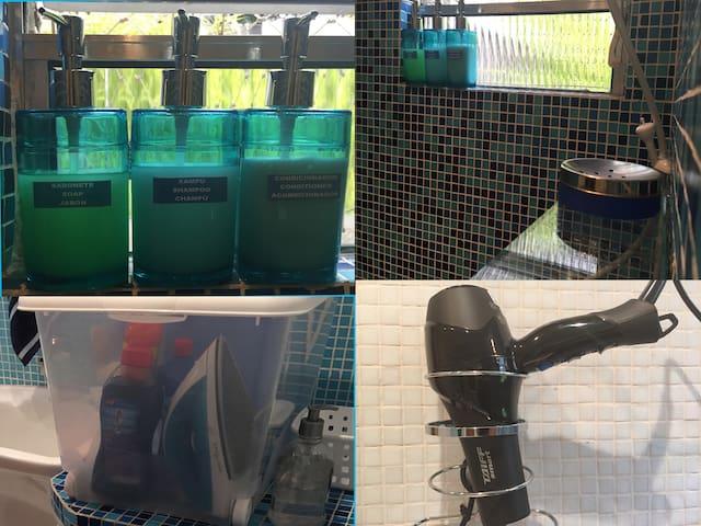 Amenidades de banho (shampoo, sabonete), secador de cabelo, ferro de passar, etc. Bath amenities (shampoo, soap), hair dryer, iron, etc