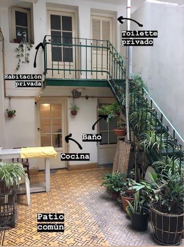 Habitación privada - Ph con patio en Recoleta