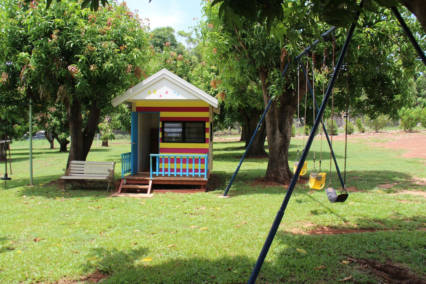 Cubby house, three swings and a full playground so that no one has to wait their turn