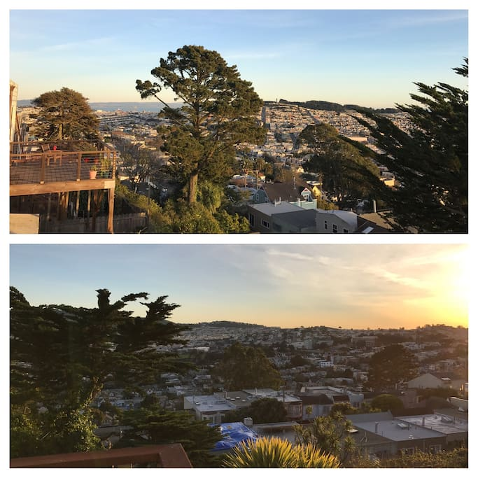 Welcome to your new vista from the back deck of our house.  You can see the Pacific Ocean to the SF Bay.