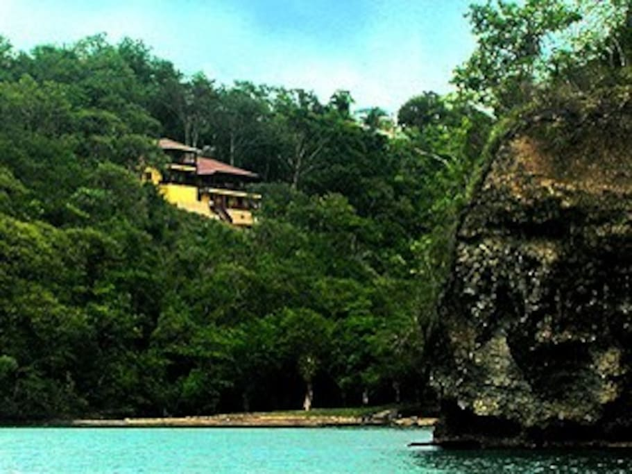 Villa seen from the secluded cove.