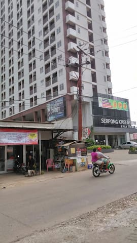 """Public transportation is available. Small minibus, """"ojek"""" and taxi. Food court is inside and minimarkets are across the building."""