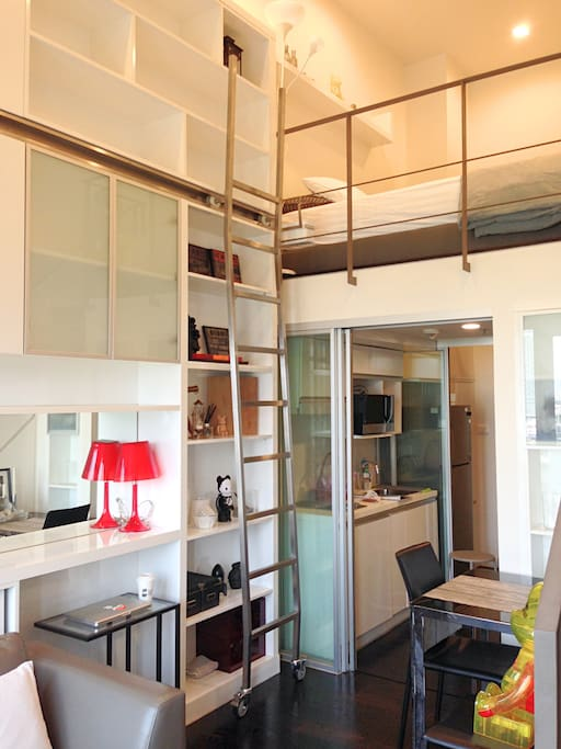 Kitchen and sliding-door