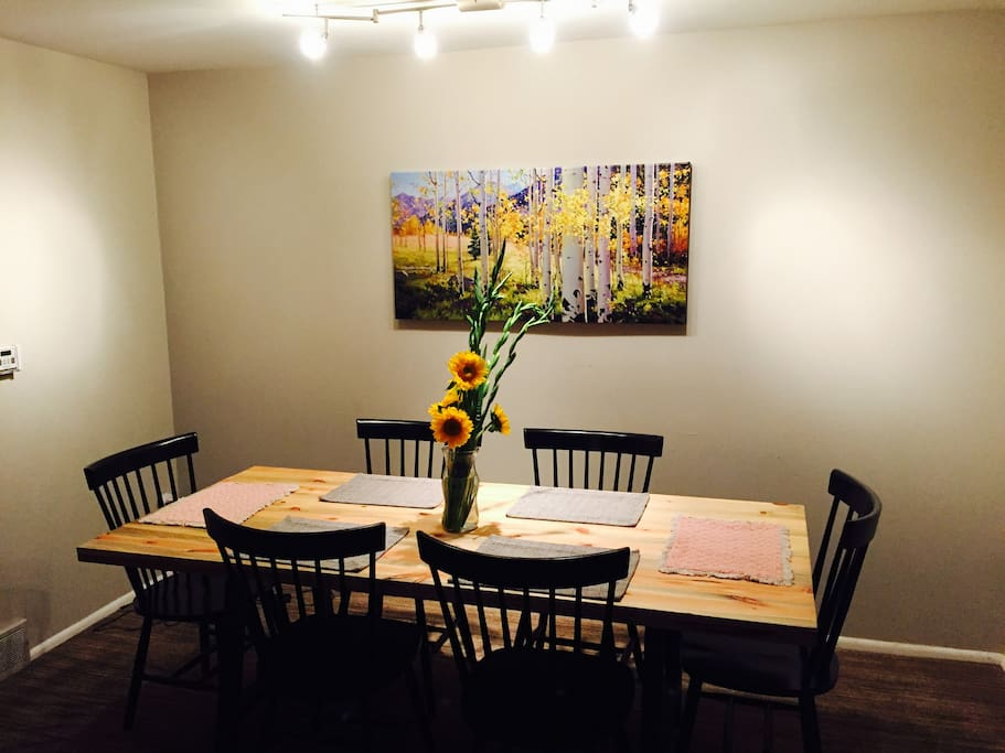 Handmade dining table with Afternoon Aspen painting!