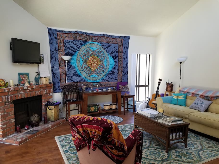 Shared Living Room with Vaulted Ceilings, Fireplace & Flat Screen TV