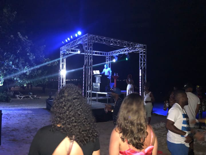 Stage on the beach by the water