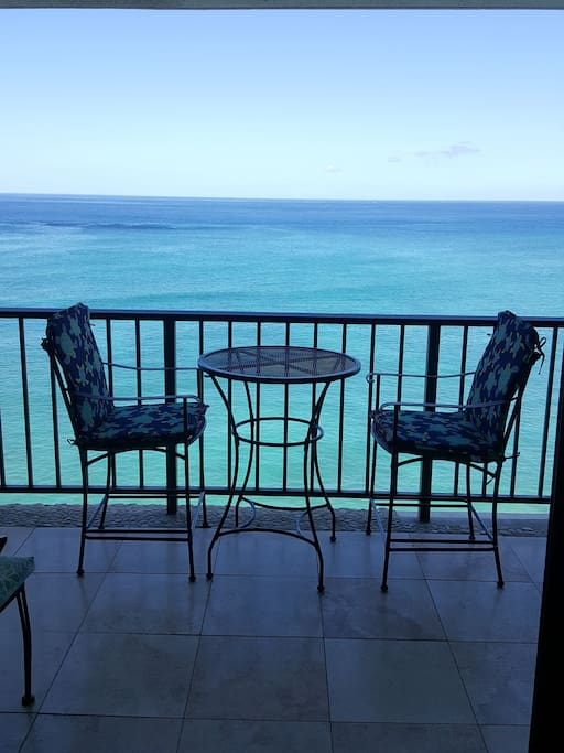 Incredible ocean front views of the deep blue pacific ocean from the private balcony