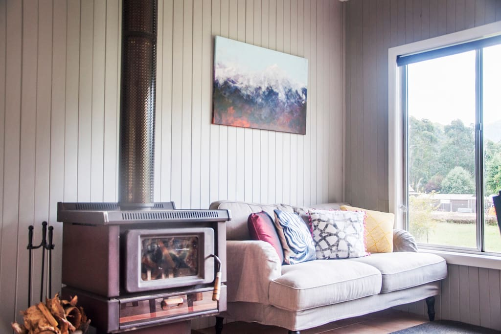 Woodstove and chill out couch