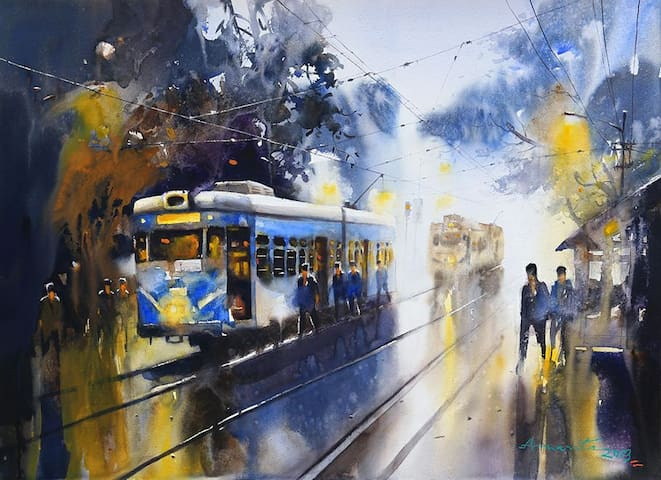 At the Tram-lines. At Burra Bazar.