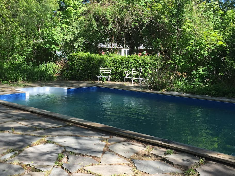A photo of the brand new pool, not heated but very refreshing, take a plunge!