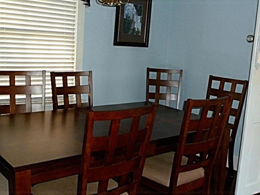 The shared dining room is used for continental breakfast and other meals, as needed.