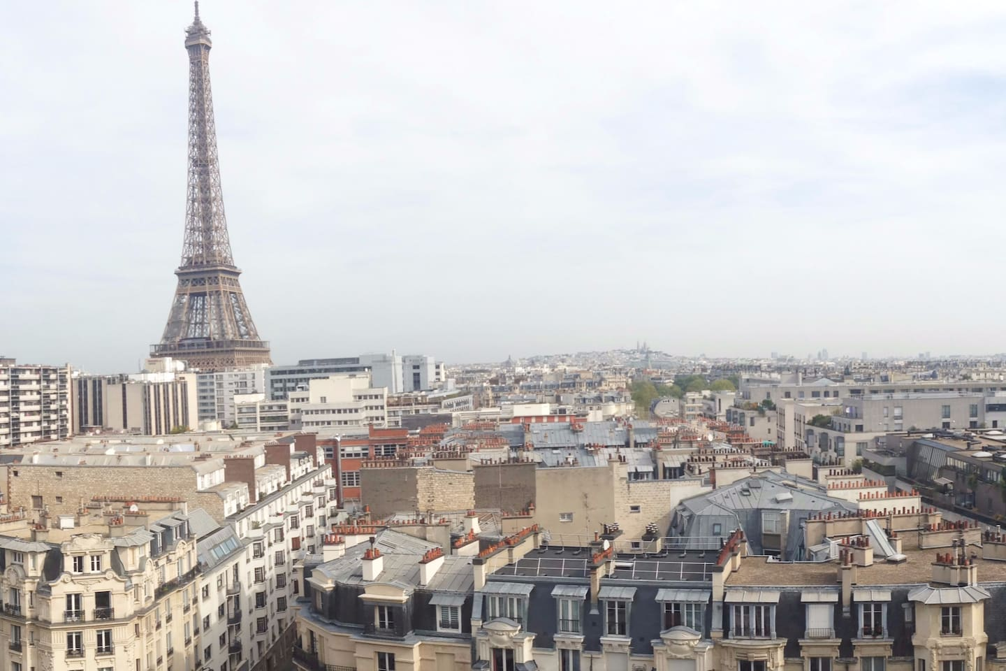30 m² studio with 10 meters long terrace overlooking Paris and the Eiffel Tower from last floor - 11th. 200 meters from the river SEINE and the Bir-Hakheim bridge. 100 meters from Dupleix metro Station (line 6).