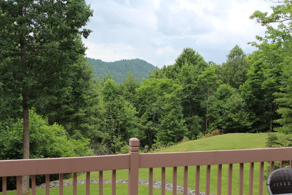 Enjoy the cool mountain breezes on the private five acres.