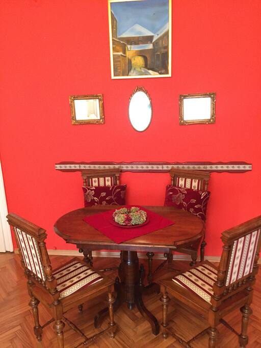 red apartment - siting area