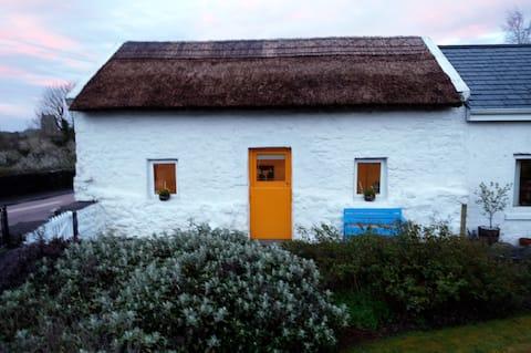 Thatched whitewashed cottage