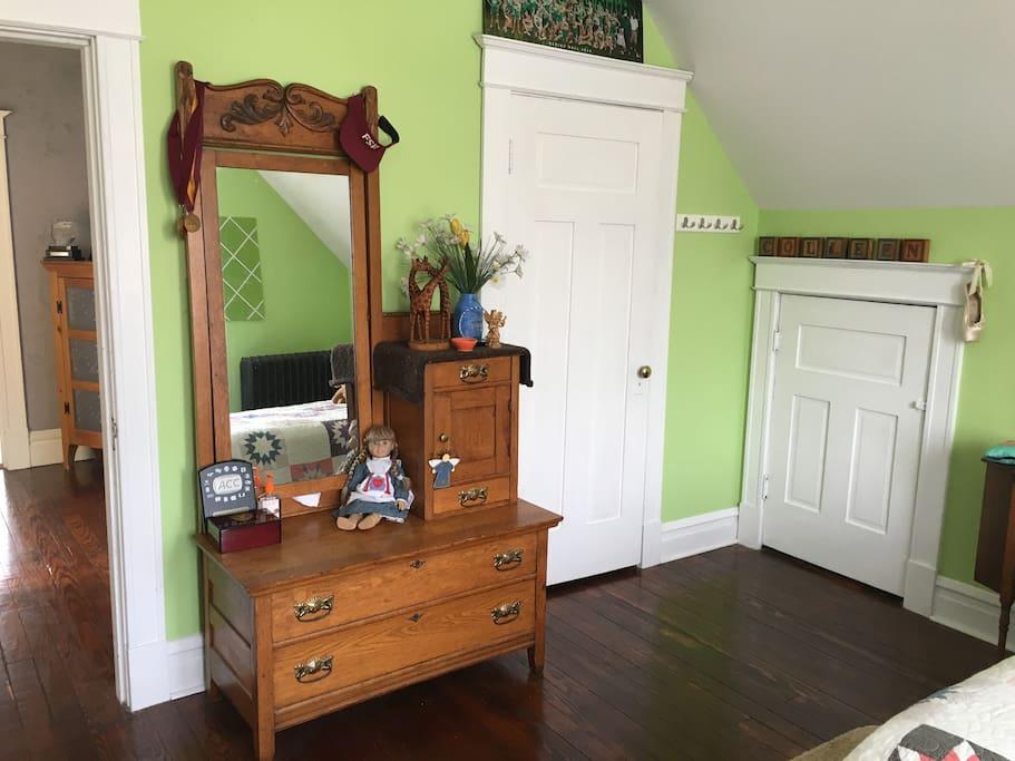 East bedroom dresser and closet