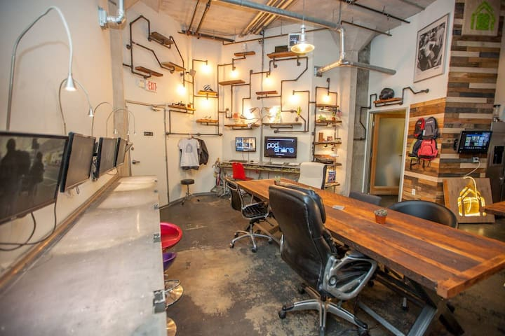 The co-working space is all DIY