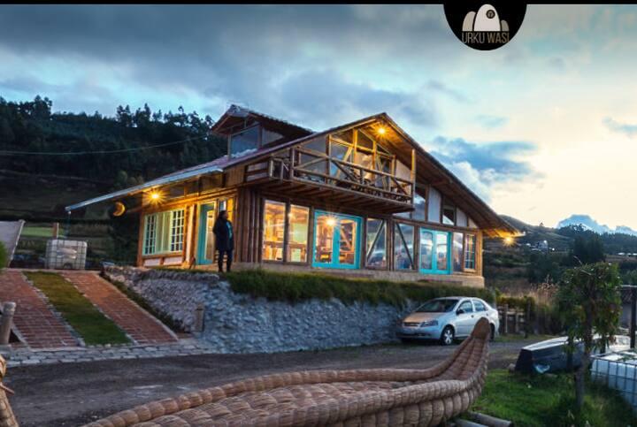Habitación dos camas con vista al Lago San Pablo
