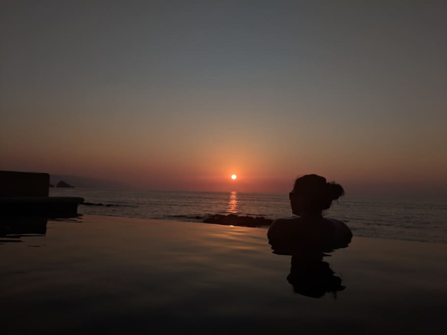 Sunset in your private infinity pool