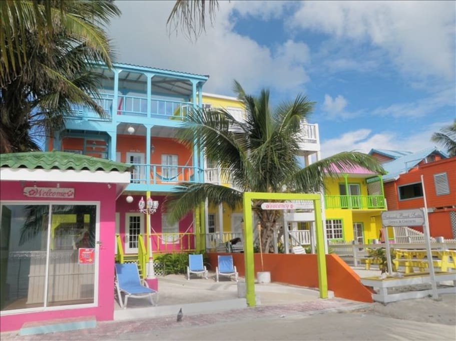 4 Sisters, who grew up on the island, have built their respective beach homes on this choice piece of Caye Caulker beach front property.