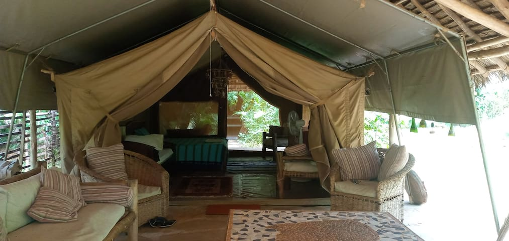 Mwembeni eco-tent - bush luxury right by the creek