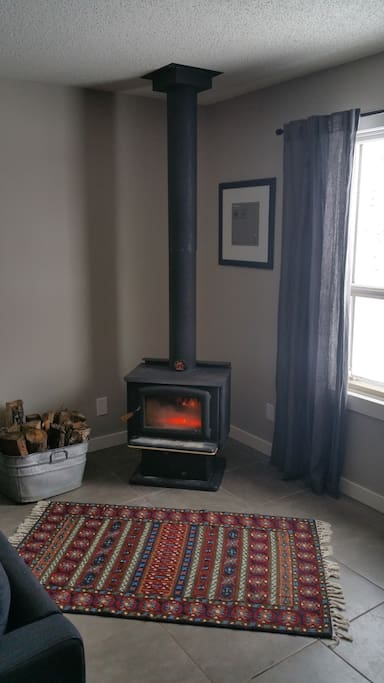 Newly installed wood stove in common area