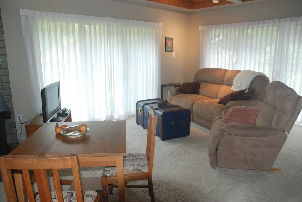 Living area with reclining couch and chair