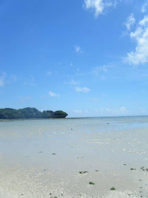 目の前の海、潮が引くと写真にある無人島まで歩いていけます
