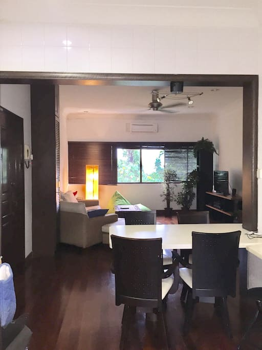 Open plan in leafy apartment