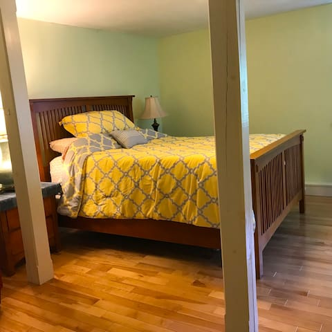 You'll sleep well in the Mission-style queen bed.