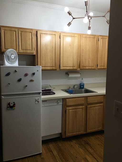 Refrigerator, freezer, sink, dishwasher, a lot of light!